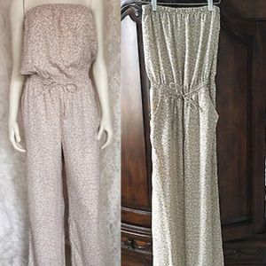 ANN TAYLOR LOFT beige cheetah print jumpsuit XXS